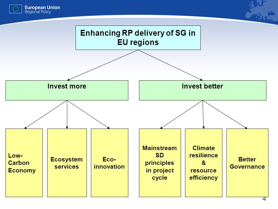 4 Enhancing RP delivery of SG in EU regions Invest moreInvest better Low- Carbon Economy Eco- innovation Ecosystem services Better Governance Climate resilience & resource efficiency Mainstream SD principles in project cycle