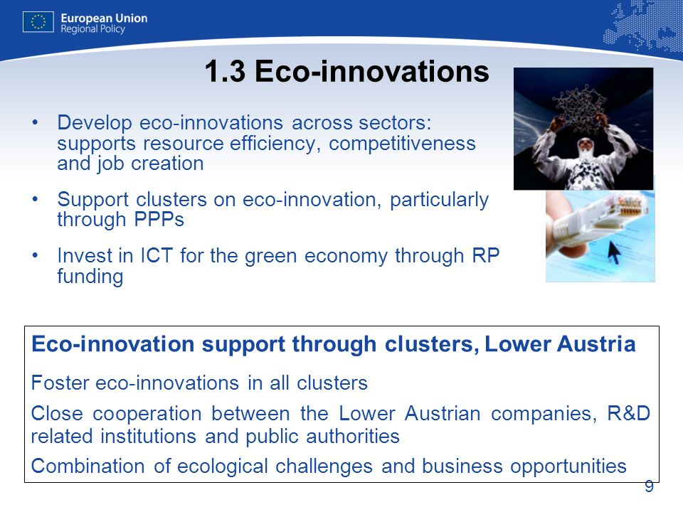 9 1.3 Eco-innovations Develop eco-innovations across sectors: supports resource efficiency, competitiveness and job creation Support clusters on eco-innovation, particularly through PPPs Invest in ICT for the green economy through RP funding Eco-innovation support through clusters, Lower Austria Foster eco-innovations in all clusters Close cooperation between the Lower Austrian companies, R&D related institutions and public authorities Combination of ecological challenges and business opportunities