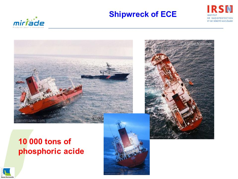 Shipwreck of ECE 10 000 tons of phosphoric acide