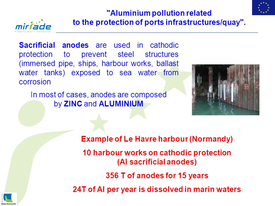 Aluminium pollution related to the protection of ports infrastructures/quay .