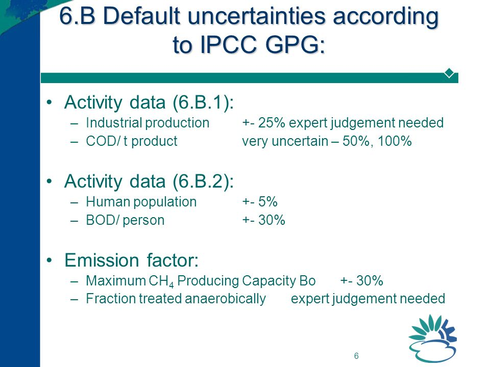 6 6.B Default uncertainties according to IPCC GPG: Activity data (6.B.1): –Industrial production+- 25% expert judgement needed –COD/ t productvery uncertain – 50%, 100% Activity data (6.B.2): –Human population+- 5% –BOD/ person+- 30% Emission factor: –Maximum CH 4 Producing Capacity Bo+- 30% –Fraction treated anaerobicallyexpert judgement needed