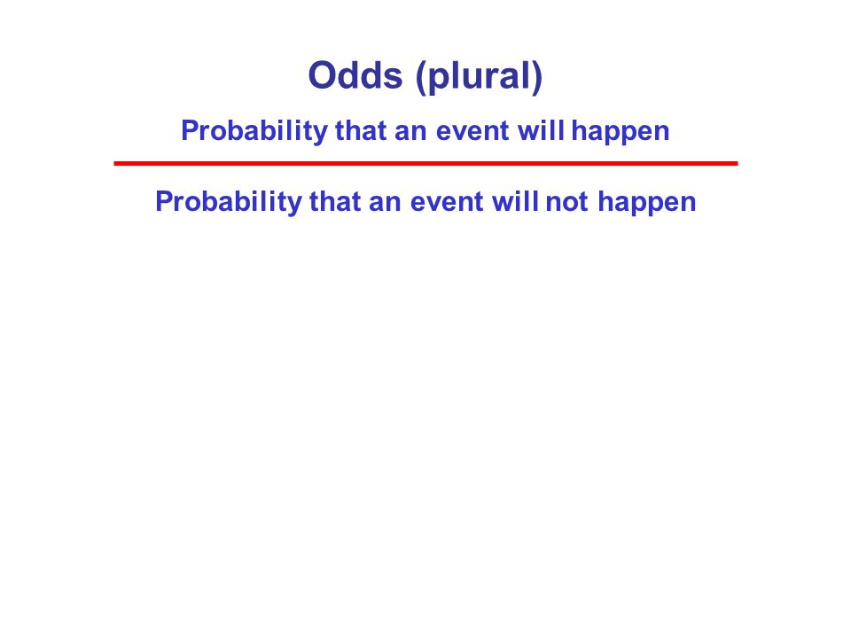 Odds (plural) Probability that an event will happen Probability that an event will not happen