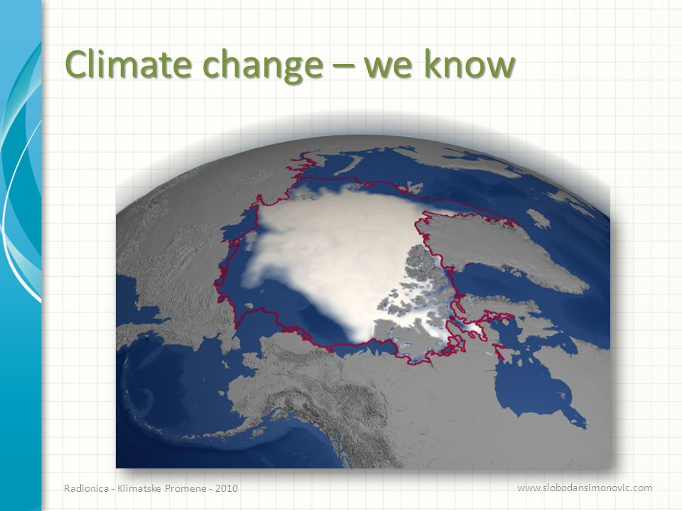 Climate change – we know Radionica - Klimatske Promene - 2010 www.slobodansimonovic.com Church and White, Geophysical Research Letters, (2006) Cazenave et al, Global and Planetary Change, (2009)