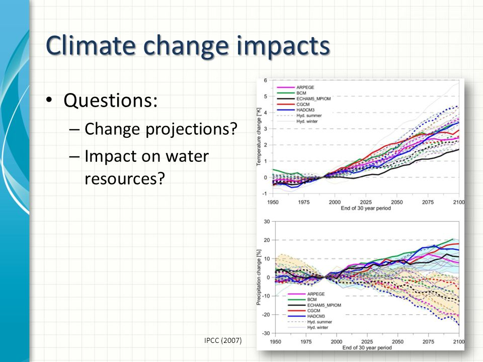 Climate change impacts Questions: – Change projections – Impact on water resources IPCC (2007)