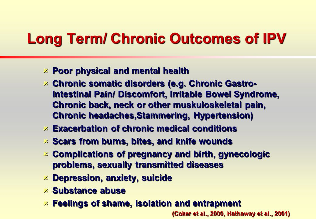 Long Term/ Chronic Outcomes of IPV Poor physical and mental health Poor physical and mental health Chronic somatic disorders (e.g.