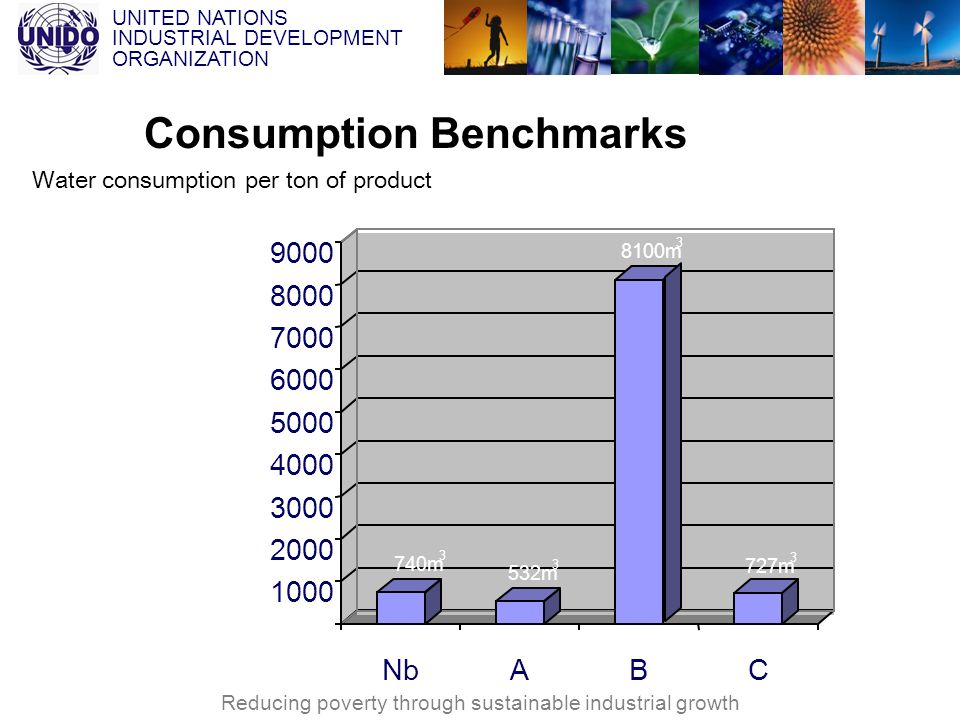 UNITED NATIONS INDUSTRIAL DEVELOPMENT ORGANIZATION Reducing poverty through sustainable industrial growth Consumption Benchmarks Water consumption per