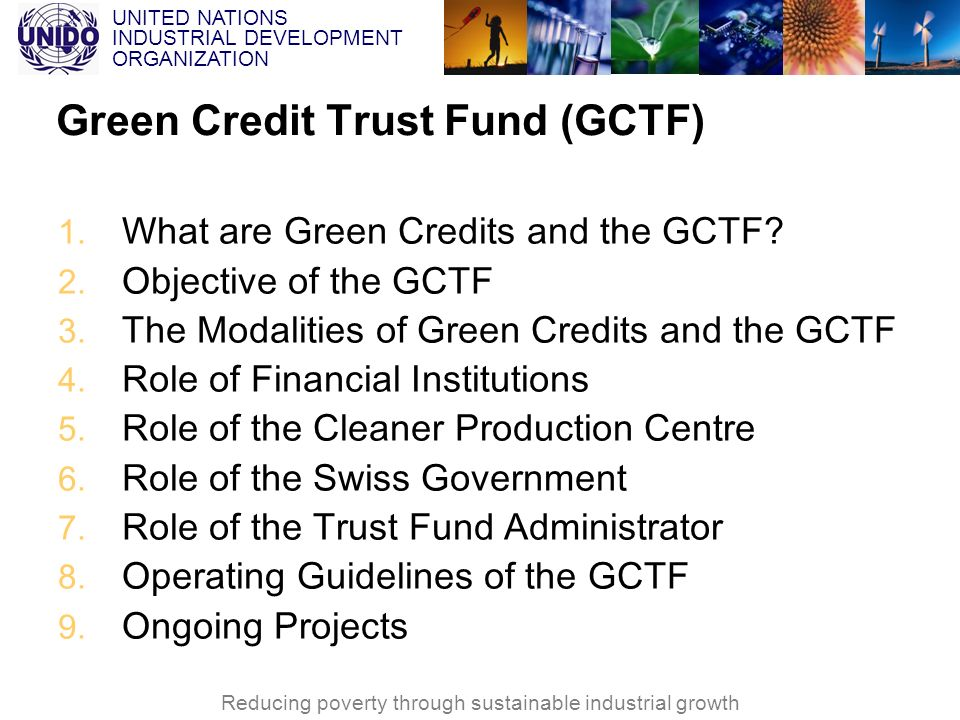 UNITED NATIONS INDUSTRIAL DEVELOPMENT ORGANIZATION Reducing poverty through sustainable industrial growth Green Credit Trust Fund (GCTF) 1. What are G