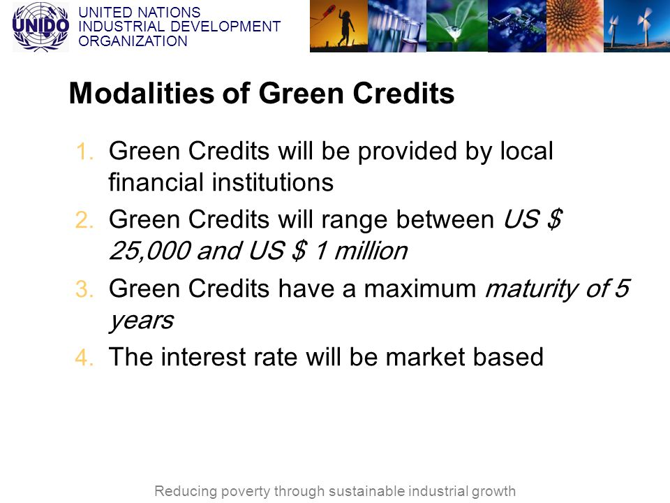 UNITED NATIONS INDUSTRIAL DEVELOPMENT ORGANIZATION Reducing poverty through sustainable industrial growth Modalities of Green Credits 1. Green Credits