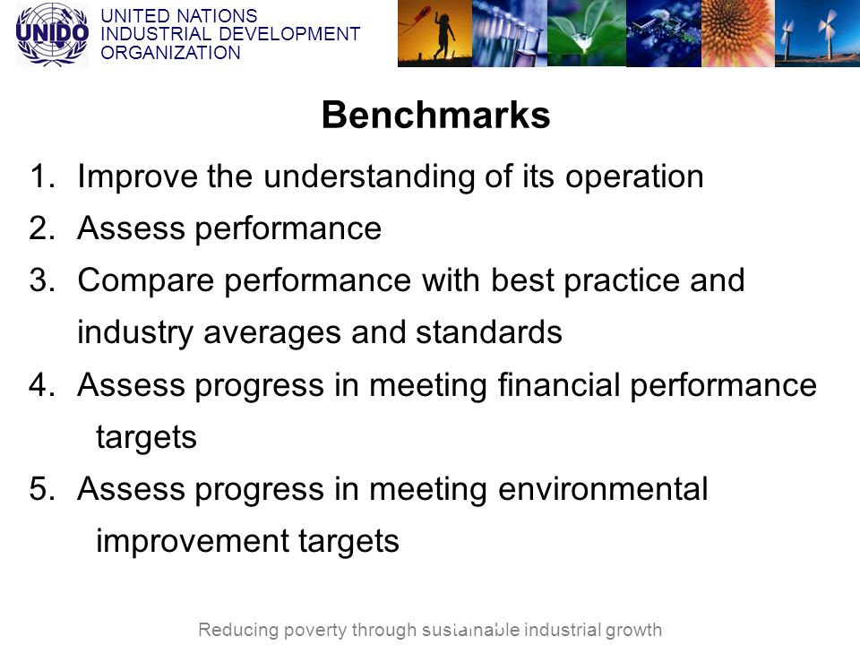 UNITED NATIONS INDUSTRIAL DEVELOPMENT ORGANIZATION Reducing poverty through sustainable industrial growth VNCPC Benchmarks 1.Improve the understanding