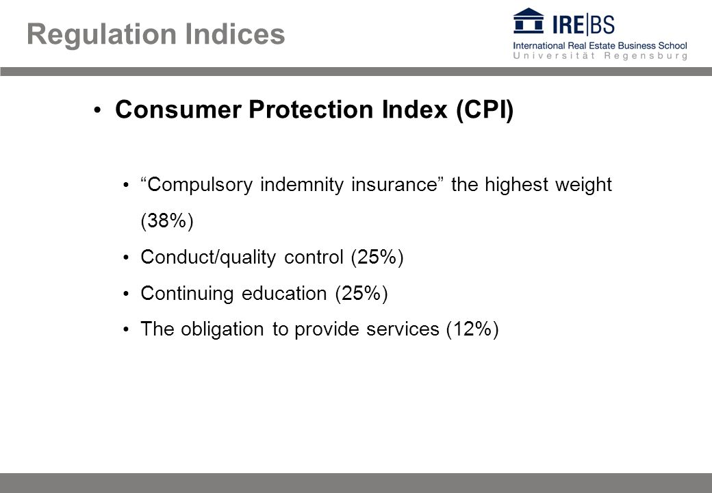 Regulation Indices Consumer Protection Index (CPI) Compulsory indemnity insurance the highest weight (38%) Conduct/quality control (25%) Continuing ed