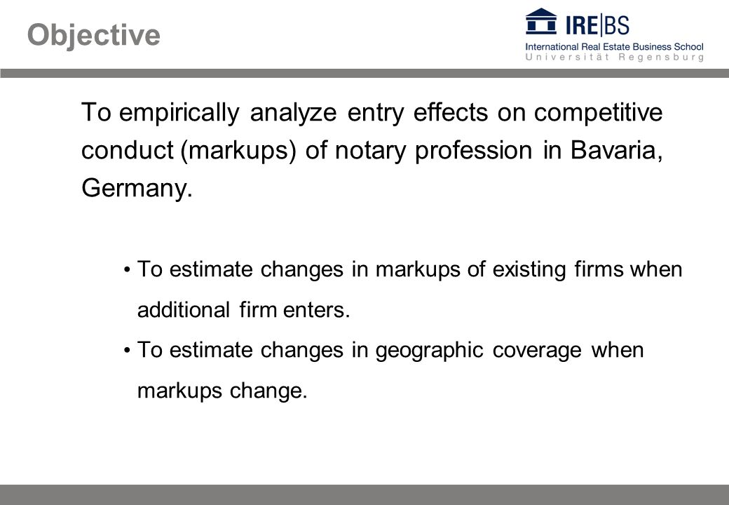 Objective To empirically analyze entry effects on competitive conduct (markups) of notary profession in Bavaria, Germany. To estimate changes in marku