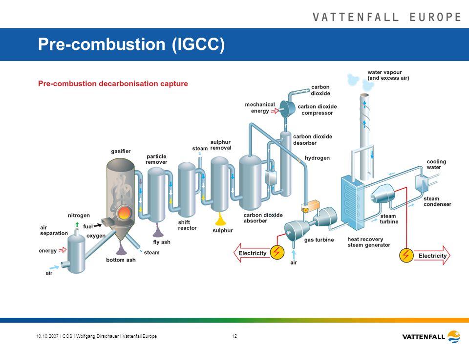 10.10.2007 | CCS | Wolfgang Dirschauer | Vattenfall Europe 12 Pre-combustion (IGCC)