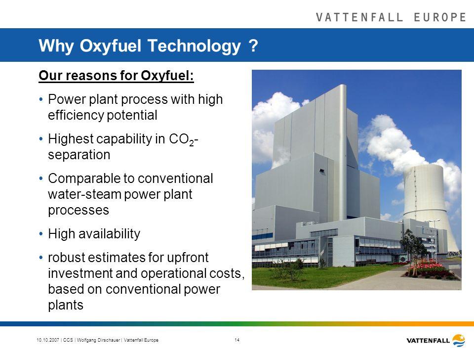 10.10.2007 | CCS | Wolfgang Dirschauer | Vattenfall Europe 14 Why Oxyfuel Technology .