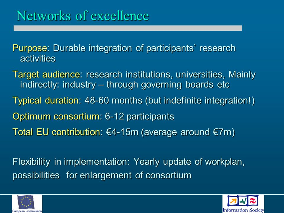 Purpose: Durable integration of participants research activities Target audience: research institutions, universities, Mainly indirectly: industry – through governing boards etc Typical duration: months (but indefinite integration!) Optimum consortium: 6-12 participants Total EU contribution: 4-15m (average around 7m) Flexibility in implementation: Yearly update of workplan, possibilities for enlargement of consortium Networks of excellence