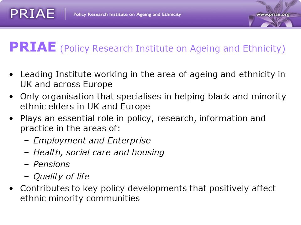 PRIAE (Policy Research Institute on Ageing and Ethnicity) Leading Institute working in the area of ageing and ethnicity in UK and across Europe Only organisation that specialises in helping black and minority ethnic elders in UK and Europe Plays an essential role in policy, research, information and practice in the areas of: –Employment and Enterprise –Health, social care and housing –Pensions –Quality of life Contributes to key policy developments that positively affect ethnic minority communities