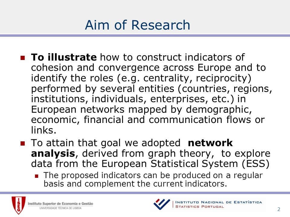 2 Aim of Research To illustrate how to construct indicators of cohesion and convergence across Europe and to identify the roles (e.g.