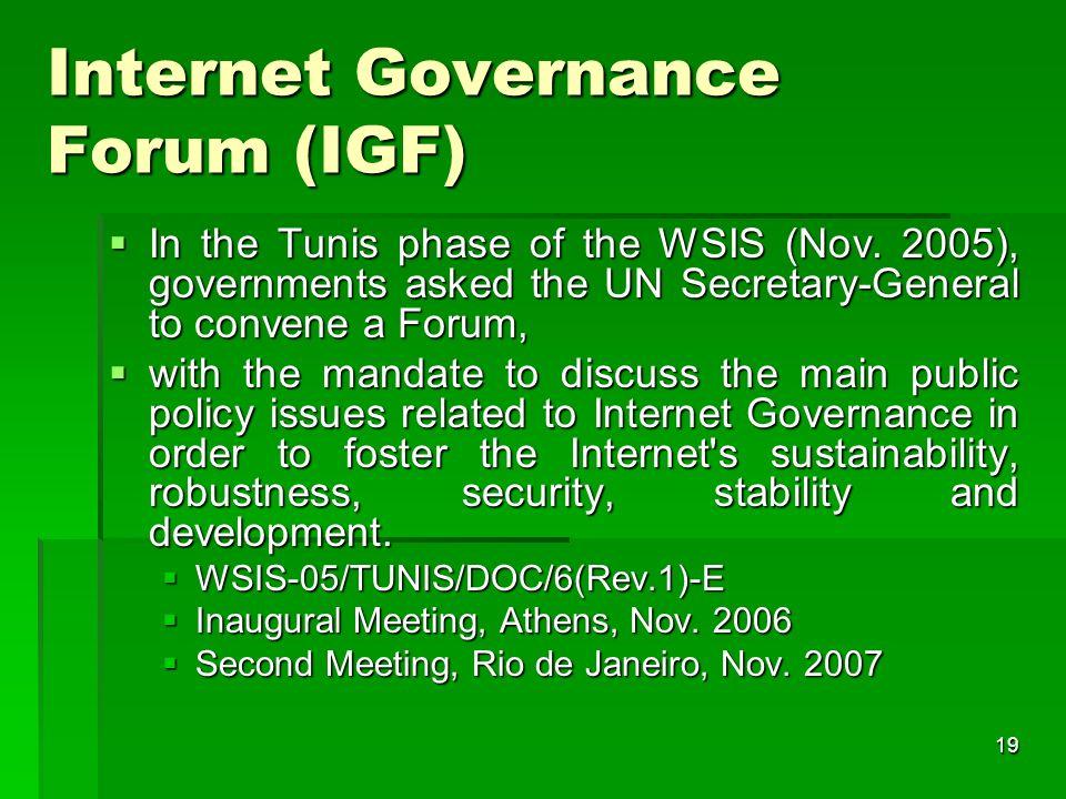 18 Internet Governance : Government, Management.