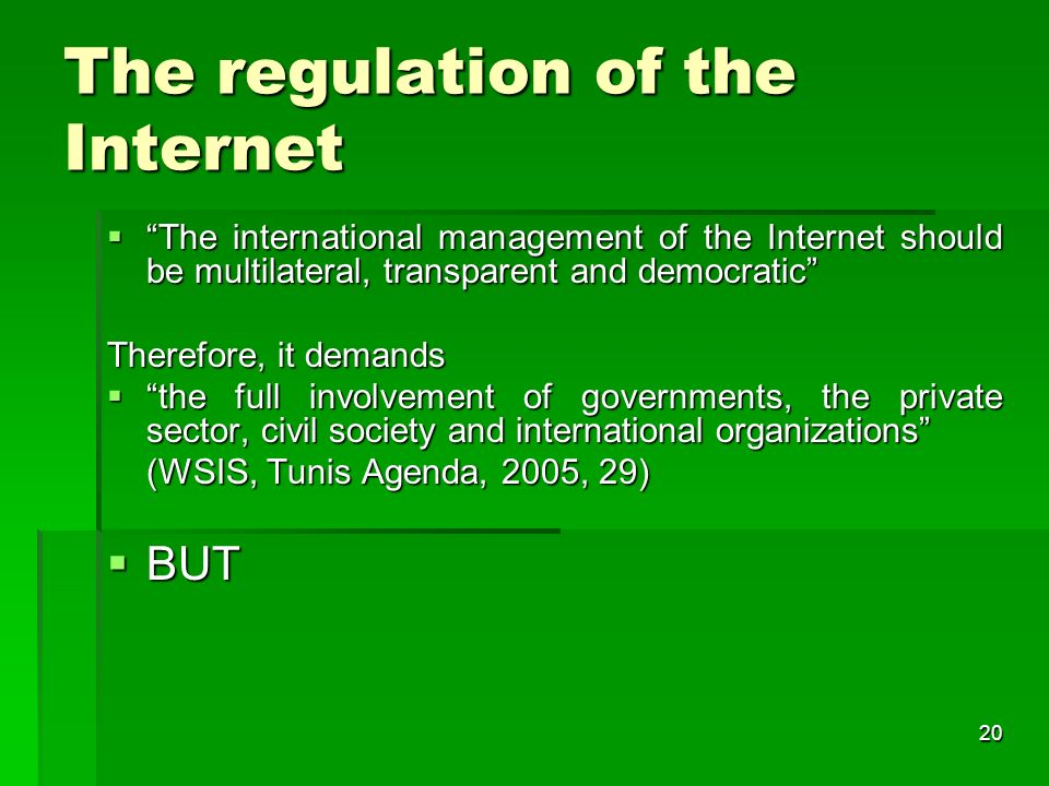 19 Internet Governance Forum (IGF) In the Tunis phase of the WSIS (Nov.