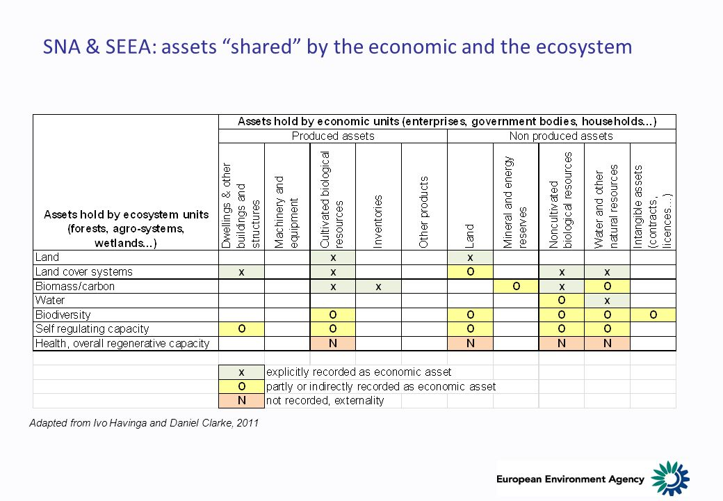 SNA & SEEA: assets shared by the economic and the ecosystem Adapted from Ivo Havinga and Daniel Clarke, 2011