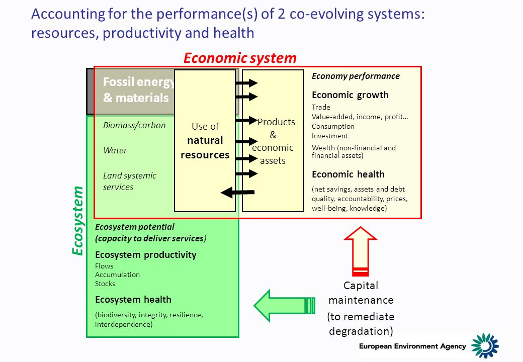 Products & economic assets Fossil energy & materials Biomass/carbon Water Land systemic services Economy performance Economic growth Trade Value-added, income, profit… Consumption Investment Wealth (non-financial and financial assets) Economic health (net savings, assets and debt quality, accountability, prices, well-being, knowledge) Ecosystem potential (capacity to deliver services) Ecosystem productivity Flows Accumulation Stocks Ecosystem health (biodiversity, integrity, resilience, interdependence) Capital maintenance (to remediate degradation) Accounting for the performance(s) of 2 co-evolving systems: resources, productivity and health Economic system Ecosystem Use of natural resources