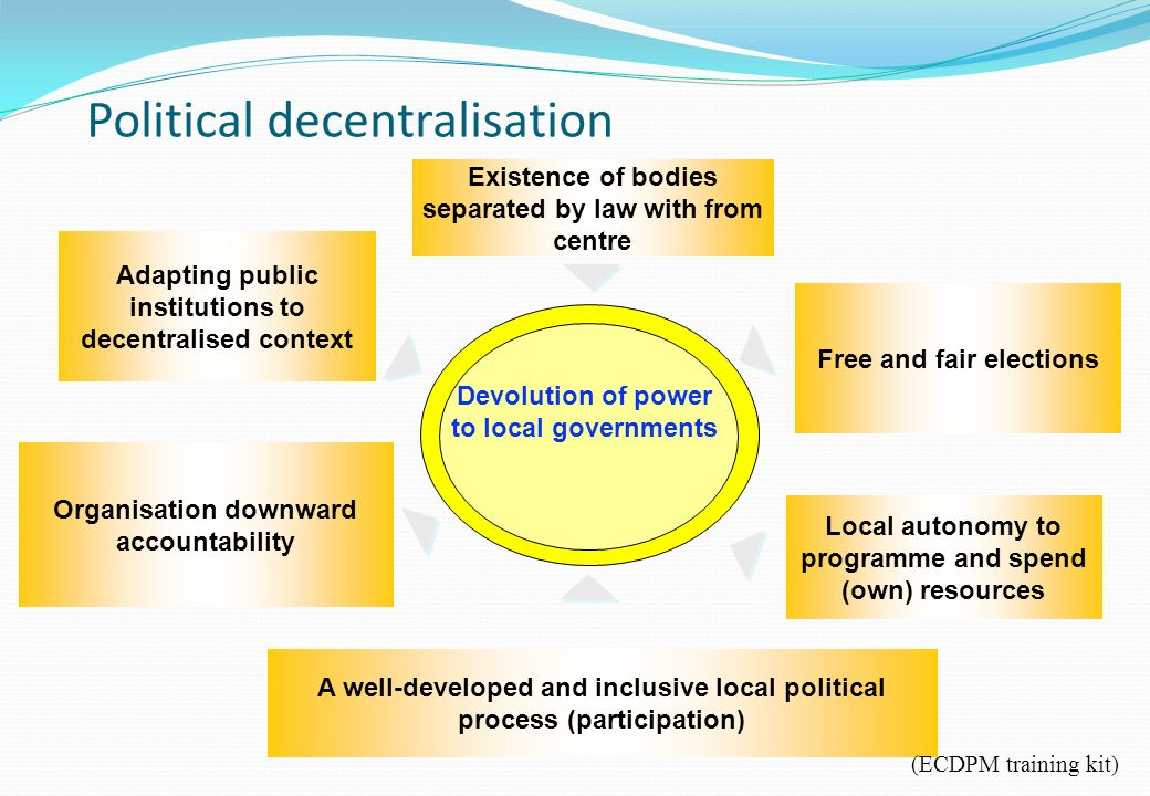 Existence of bodies separated by law with from centre Adapting public institutions to decentralised context Organisation downward accountability A well-developed and inclusive local political process (participation) Free and fair elections Devolution of power to local governments Local autonomy to programme and spend (own) resources Political decentralisation (ECDPM training kit)