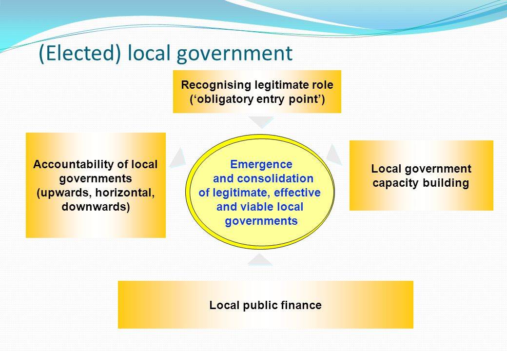 Emergence and consolidation of legitimate, effective and viable local governments Recognising legitimate role (obligatory entry point) Accountability of local governments (upwards, horizontal, downwards) Local public finance Local government capacity building (Elected) local government