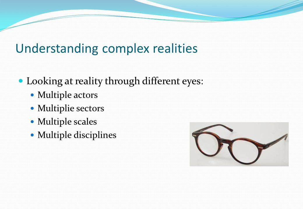 Understanding complex realities Looking at reality through different eyes: Multiple actors Multiplie sectors Multiple scales Multiple disciplines
