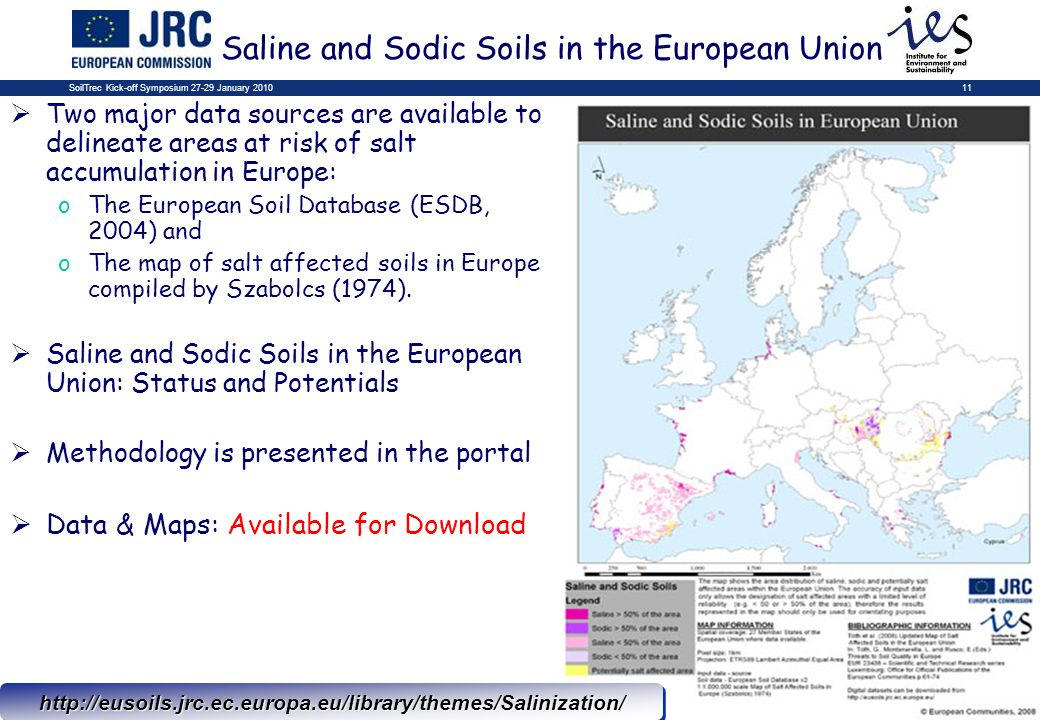 SoilTrec Kick-off Symposium 27-29 January 201011 Saline and Sodic Soils in the European Unionhttp://eusoils.jrc.ec.europa.eu/library/themes/Salinization/http://eusoils.jrc.ec.europa.eu/library/themes/Salinization/ Two major data sources are available to delineate areas at risk of salt accumulation in Europe: oThe European Soil Database (ESDB, 2004) and oThe map of salt affected soils in Europe compiled by Szabolcs (1974).