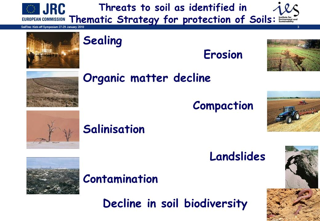 SoilTrec Kick-off Symposium 27-29 January 20103 Sealing Erosion Organic matter decline Compaction Salinisation Landslides Contamination Decline in soil biodiversity Threats to soil as identified in Thematic Strategy for protection of Soils: