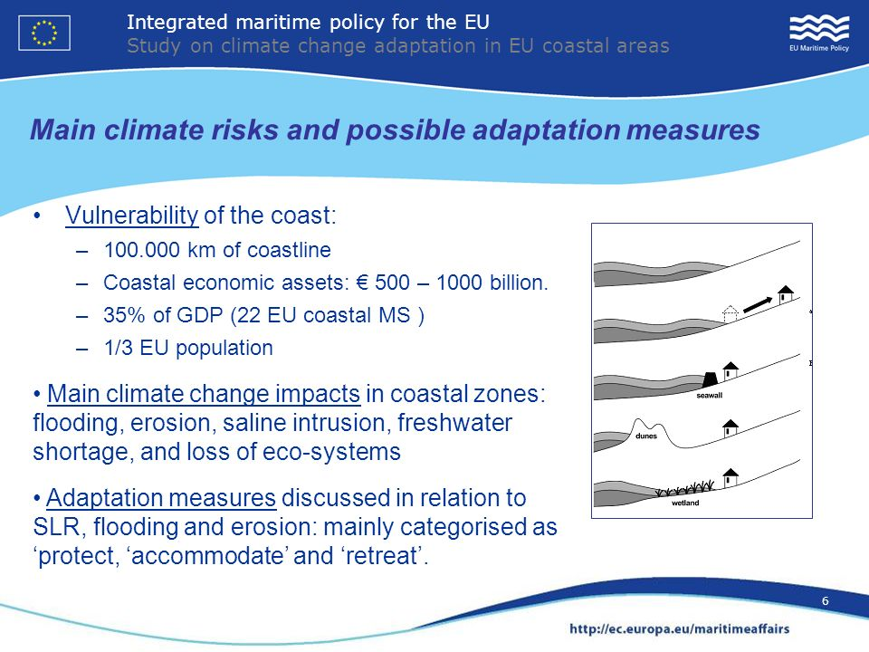 6 Main climate risks and possible adaptation measures Vulnerability of the coast: –100.000 km of coastline –Coastal economic assets: 500 – 1000 billion.