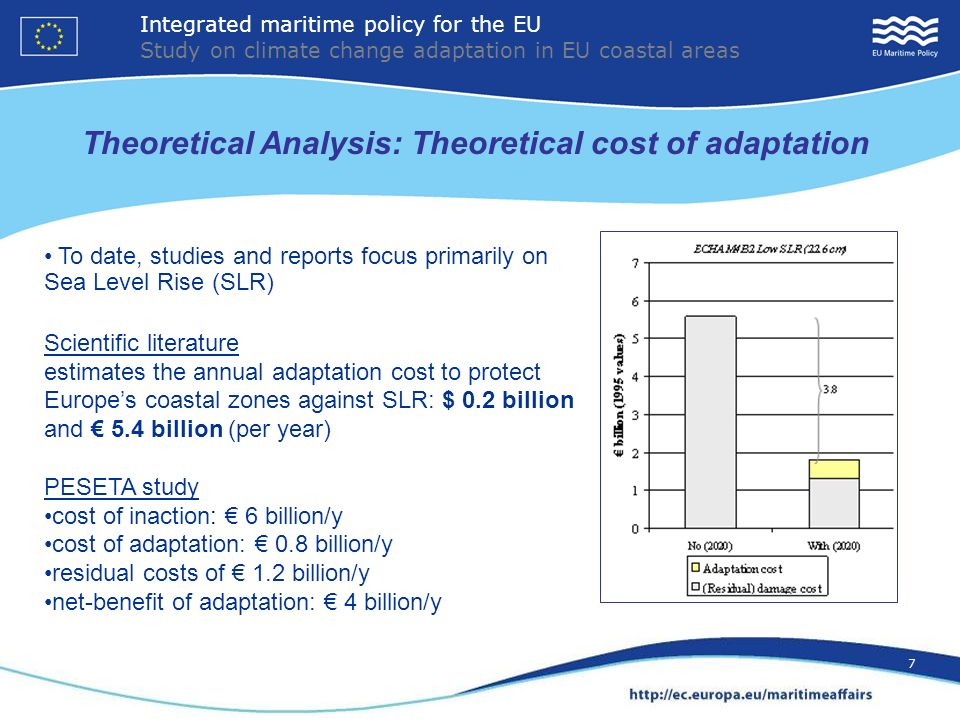 7 Theoretical Analysis: Theoretical cost of adaptation To date, studies and reports focus primarily on Sea Level Rise (SLR) Scientific literature estimates the annual adaptation cost to protect Europes coastal zones against SLR: $ 0.2 billion and 5.4 billion (per year) PESETA study cost of inaction: 6 billion/y cost of adaptation: 0.8 billion/y residual costs of 1.2 billion/y net-benefit of adaptation: 4 billion/y Integrated maritime policy for the EU Study on climate change adaptation in EU coastal areas