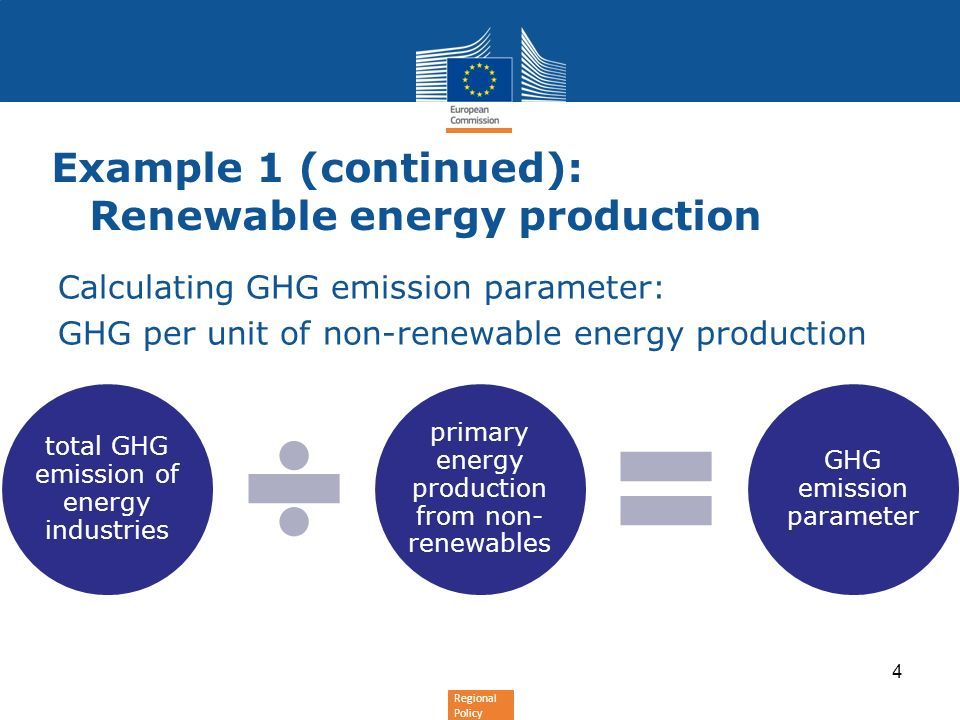 Regional Policy Calculating GHG emission parameter: GHG per unit of non-renewable energy production Example 1 (continued): Renewable energy production