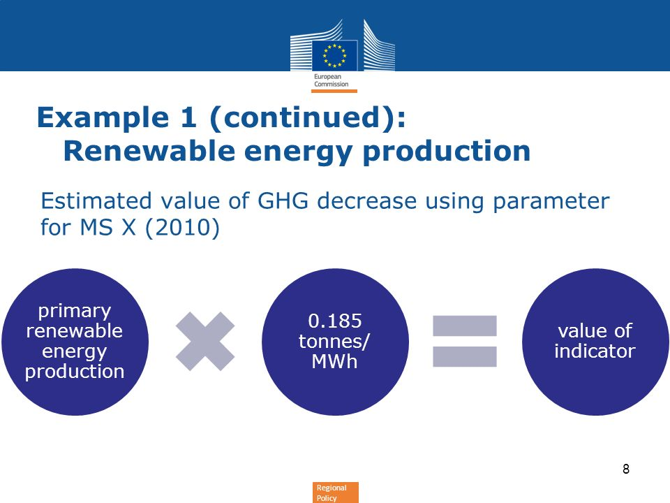 Regional Policy Estimated value of GHG decrease using parameter for MS X (2010) Example 1 (continued): Renewable energy production primary renewable e