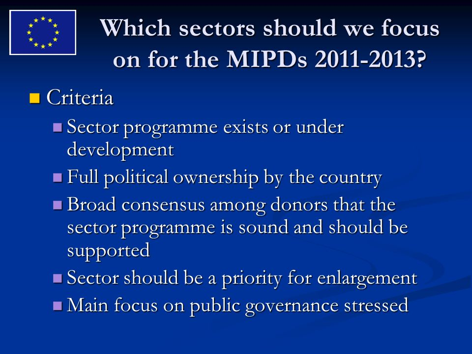 Which sectors should we focus on for the MIPDs