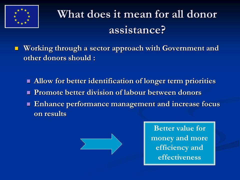 What does it mean for all donor assistance.