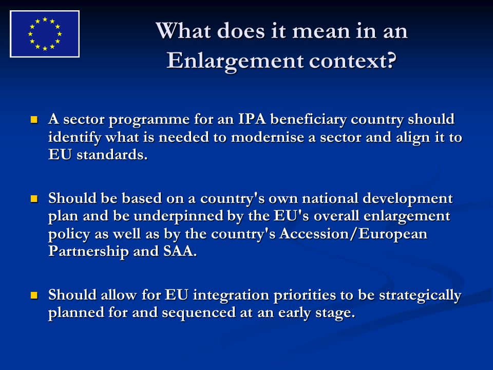 What does it mean in an Enlargement context.