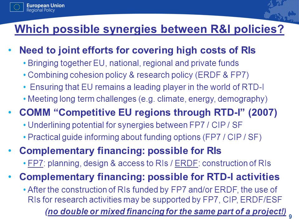 9 Which possible synergies between R&I policies.