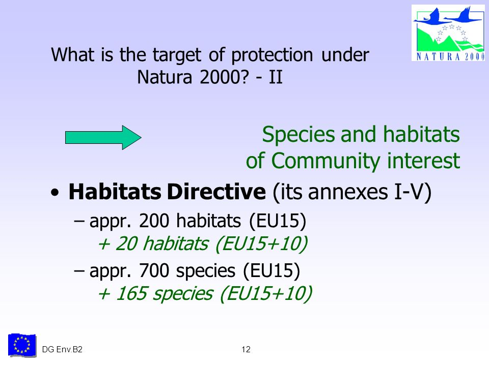 DG Env.B212 What is the target of protection under Natura 2000.