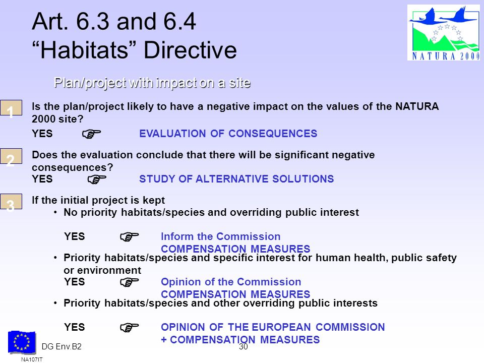DG Env.B230 Art. 6.3 and 6.4 Habitats Directive NA107IT Plan/project with impact on a site Is the plan/project likely to have a negative impact on the