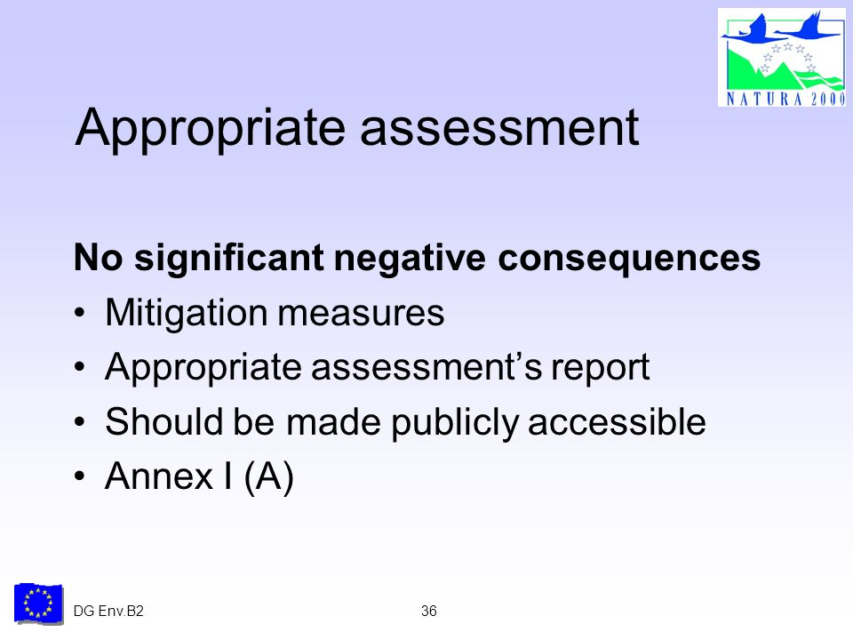 DG Env.B236 Appropriate assessment No significant negative consequences Mitigation measures Appropriate assessments report Should be made publicly accessible Annex I (A)