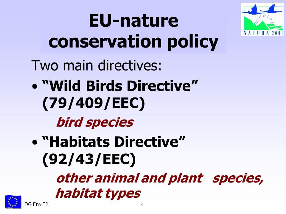 DG Env.B24 EU-nature conservation policy Two main directives: Wild Birds Directive (79/409/EEC) bird species Habitats Directive (92/43/EEC) other anim