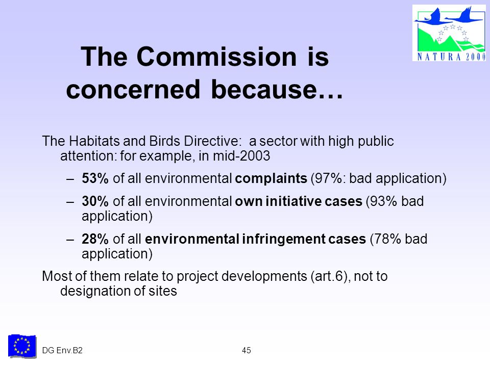 DG Env.B245 The Commission is concerned because… The Habitats and Birds Directive: a sector with high public attention: for example, in mid-2003 –53% of all environmental complaints (97%: bad application) –30% of all environmental own initiative cases (93% bad application) –28% of all environmental infringement cases (78% bad application) Most of them relate to project developments (art.6), not to designation of sites