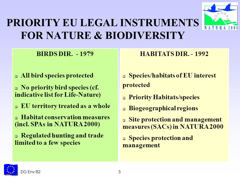DG Env.B25 BIRDS DIR. - 1979 All bird species protected No priority bird species (cf. indicative list for Life-Nature) EU territory treated as a whole