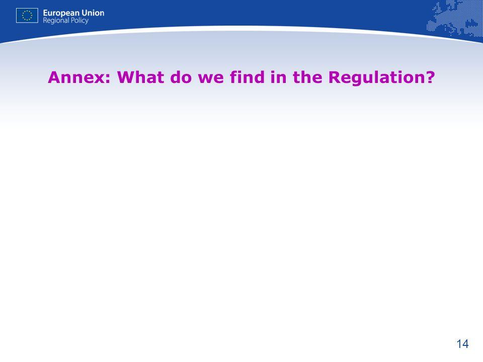 14 Annex: What do we find in the Regulation?
