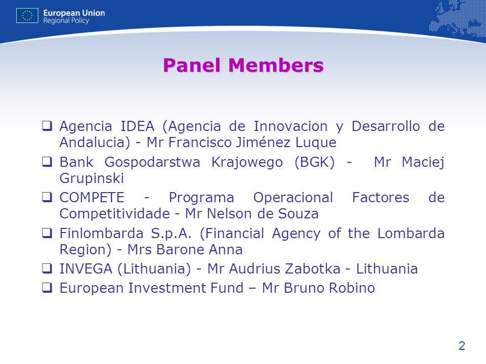2 Panel Members Agencia IDEA (Agencia de Innovacion y Desarrollo de Andalucia) - Mr Francisco Jiménez Luque Bank Gospodarstwa Krajowego (BGK) - Mr Maciej Grupinski COMPETE - Programa Operacional Factores de Competitividade - Mr Nelson de Souza Finlombarda S.p.A.