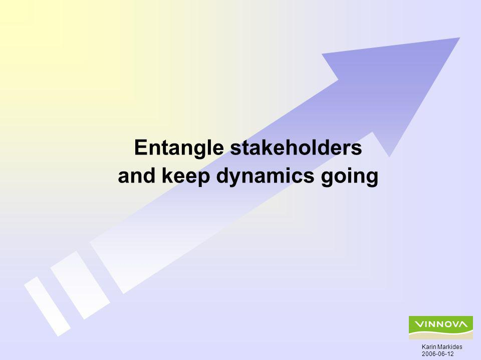 Entangle stakeholders and keep dynamics going Karin Markides