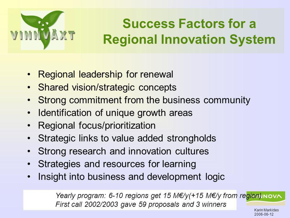 Success Factors for a Regional Innovation System Regional leadership for renewal Shared vision/strategic concepts Strong commitment from the business community Identification of unique growth areas Regional focus/prioritization Strategic links to value added strongholds Strong research and innovation cultures Strategies and resources for learning Insight into business and development logic Karin Markides 2006-06-12 Yearly program: 6-10 regions get 15 M/y(+15 M/y from region) First call 2002/2003 gave 59 proposals and 3 winners