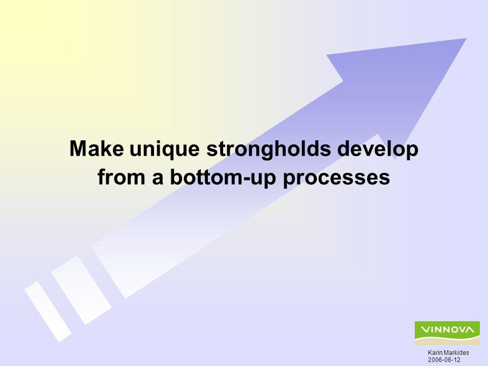 Make unique strongholds develop from a bottom-up processes Karin Markides