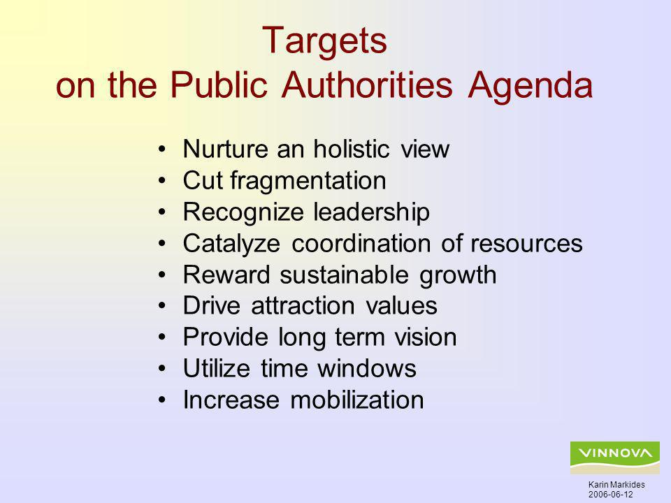 Targets on the Public Authorities Agenda Nurture an holistic view Cut fragmentation Recognize leadership Catalyze coordination of resources Reward sustainable growth Drive attraction values Provide long term vision Utilize time windows Increase mobilization Karin Markides 2006-06-12