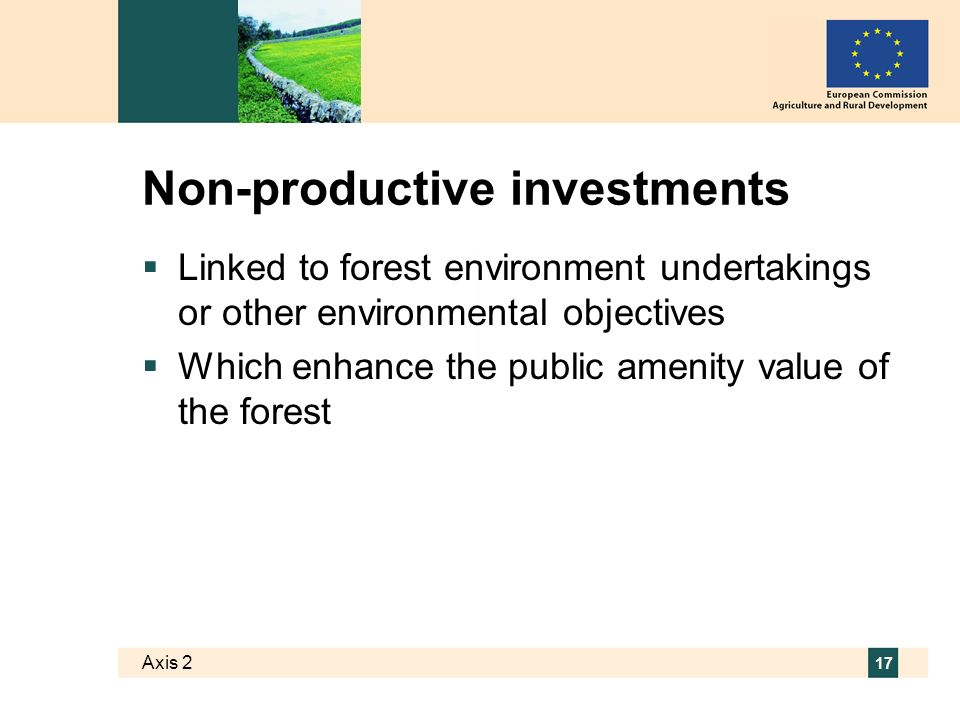 Axis 2 17 Non-productive investments Linked to forest environment undertakings or other environmental objectives Which enhance the public amenity value of the forest